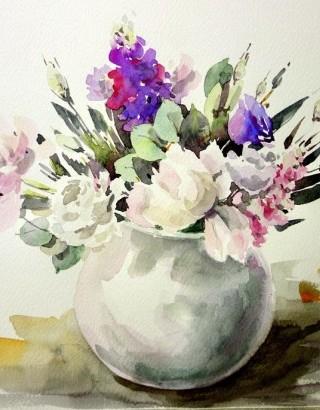 Цветы в акварели пошагово для начинающих