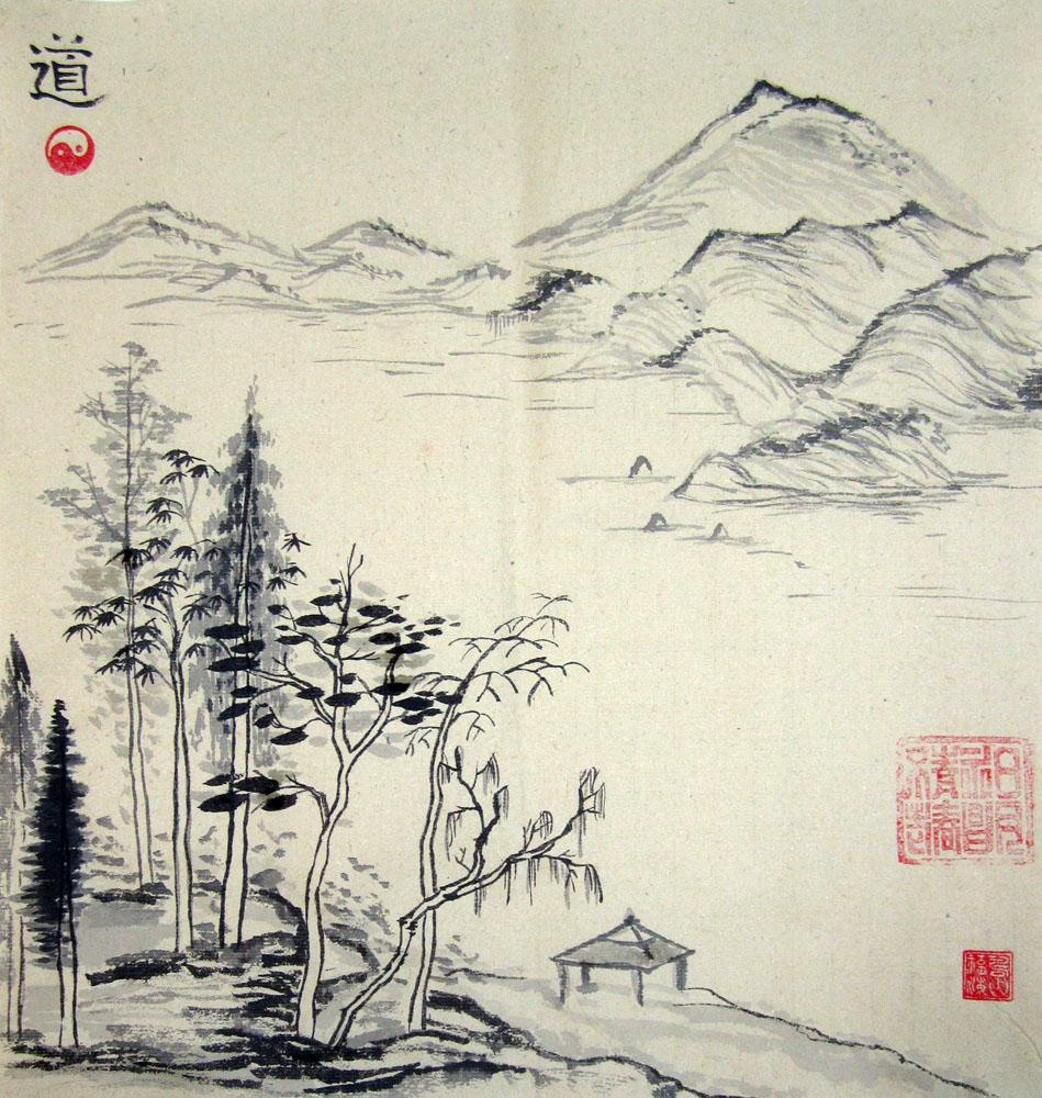 Как рисовать китайский пейзаж
